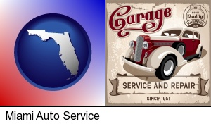 Miami, Florida - an auto service and repairs garage sign