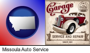 Missoula, Montana - an auto service and repairs garage sign