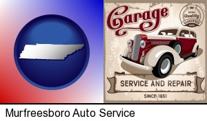 Murfreesboro, Tennessee - an auto service and repairs garage sign
