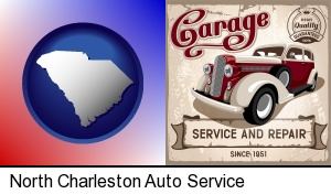 an auto service and repairs garage sign in North Charleston, SC