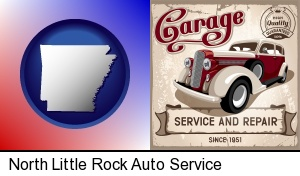 an auto service and repairs garage sign in North Little Rock, AR