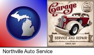 an auto service and repairs garage sign in Northville, MI