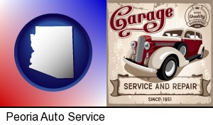 an auto service and repairs garage sign in Peoria, AZ