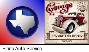 Plano, Texas - an auto service and repairs garage sign