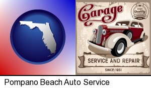 Pompano Beach, Florida - an auto service and repairs garage sign
