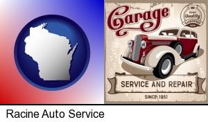 Racine, Wisconsin - an auto service and repairs garage sign