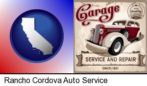 an auto service and repairs garage sign in Rancho Cordova, CA