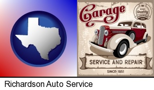 Richardson, Texas - an auto service and repairs garage sign