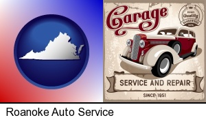 Roanoke, Virginia - an auto service and repairs garage sign