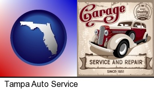 Tampa, Florida - an auto service and repairs garage sign