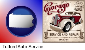 an auto service and repairs garage sign in Telford, PA