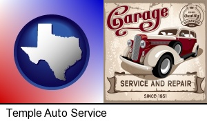 Temple, Texas - an auto service and repairs garage sign