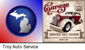 an auto service and repairs garage sign in Troy, MI