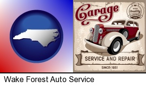 Wake Forest, North Carolina - an auto service and repairs garage sign