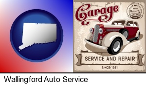Wallingford, Connecticut - an auto service and repairs garage sign