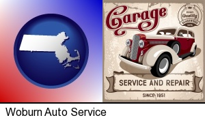 Woburn, Massachusetts - an auto service and repairs garage sign