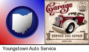 Youngstown, Ohio - an auto service and repairs garage sign